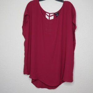 Burgundy torrid top with ladder cut-out back sz 1